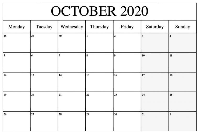 October 2020 Calendar PDF Word Excel Printable Template
