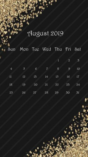 Gorgeous Gold And Black August 2019 iPad Calendar Homemaking in