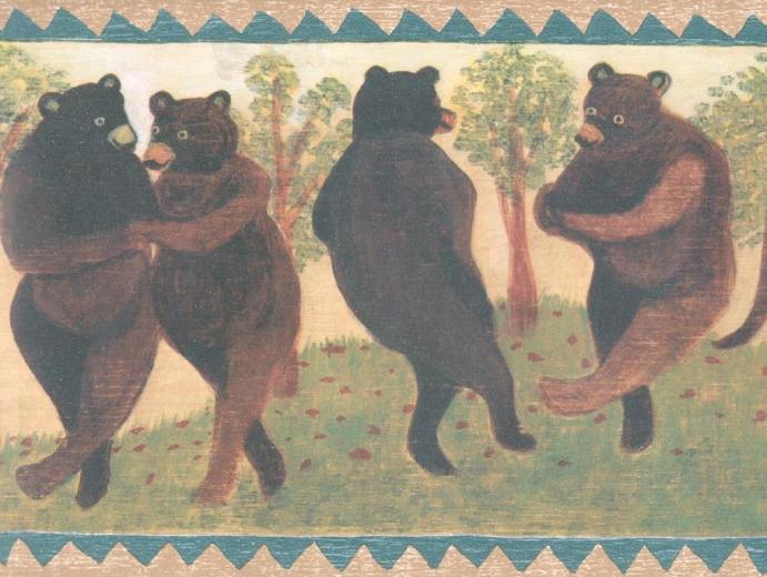 Bears Rustic Log Cabin Decor Lodge Folk Adirondack Wall Wallpaper