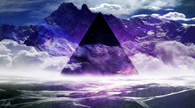 Wallpapers abstract mountains smoke purple mist geometry