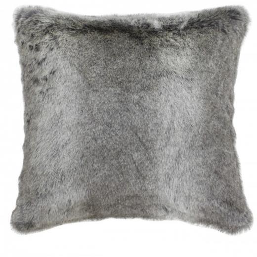 Arctic Wolf Grey Faux Fur 45 x 45cm Cushion by CIMC