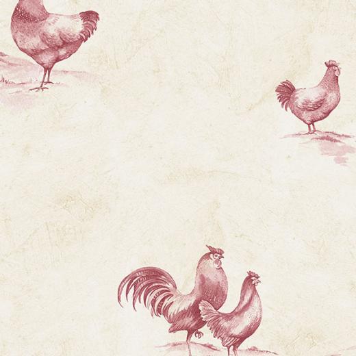 Beige and Burgundy Rooster Wallpaper KE29931   Wallpaper Border