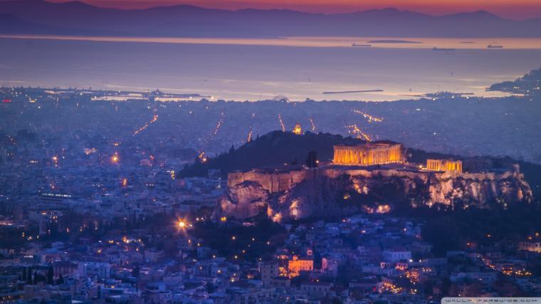Athens by night 4K HD Desktop Wallpaper for 4K Ultra HD TV