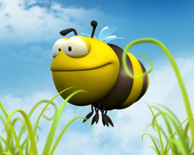 Funny 3D Bumble Bee wallpaper