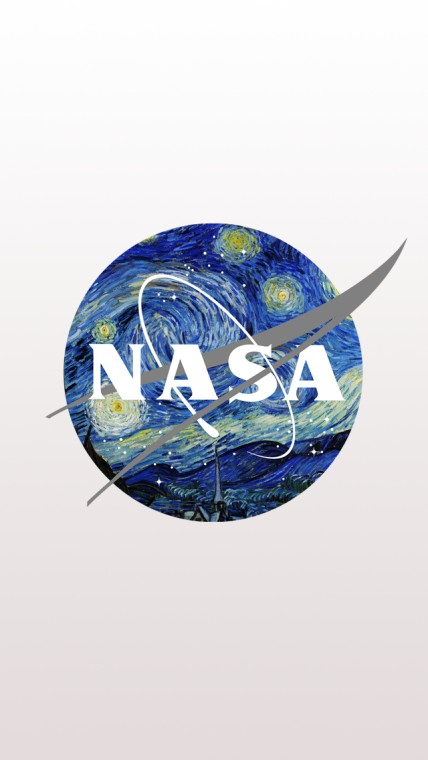 NASA Logo mixed with Starry Night by Van Gogh iPhone 5 Wallpaper