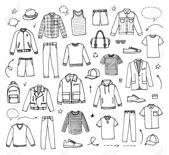 Hand Drawn Mens Clothing Vector Illustration On White Background