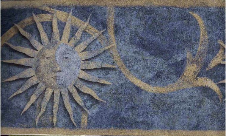 Home Dark Blue Sun Sign Wallpaper Border