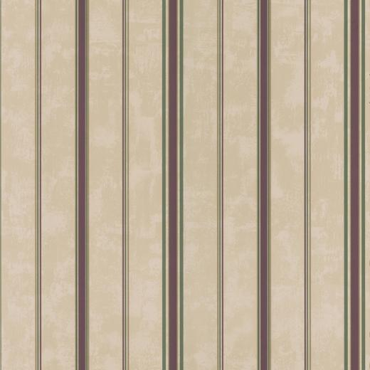 Brewster Taupe Burgundy Stripes Wallpaper