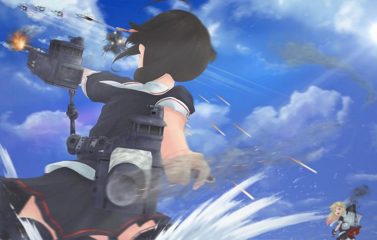 Wallpaper the sky girl clouds weapons the ocean anime art