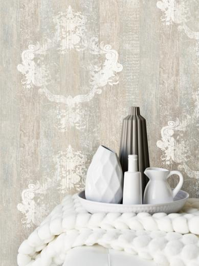 Overlay Wallpaper FauxWood fauxBois Damask Overlay Wallpaper