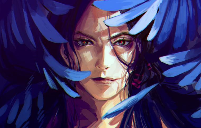 Wallpaper face smile wings anime feathers art guy JoJo no