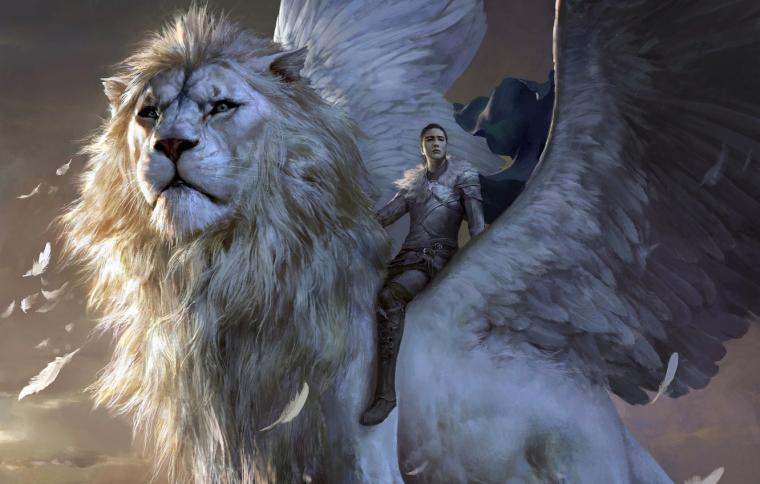 Wallpaper girl fantasy armor wings lion feathers artwork