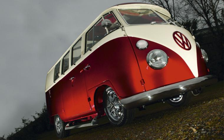 vw red volkswagen combi van bus wallpaper 1680x1050