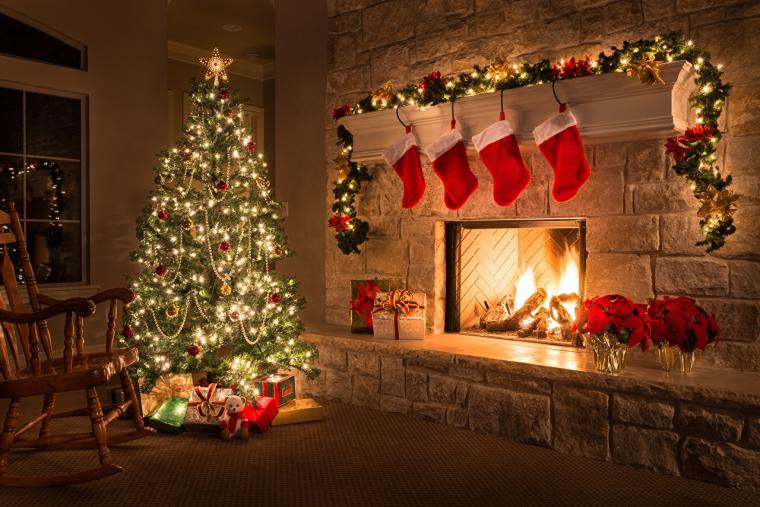 Desktop Wallpapers Christmas Socks Christmas tree Fireplace Fairy