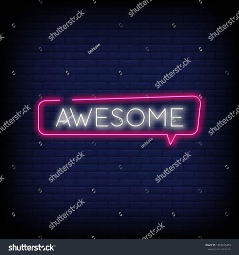 Awesome Neon Text Vector Brick Wall Stock Vector Royalty