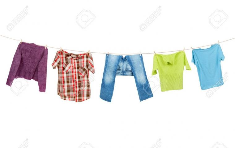 Clothes Hanging Isolated On White Background Stock Photo Picture