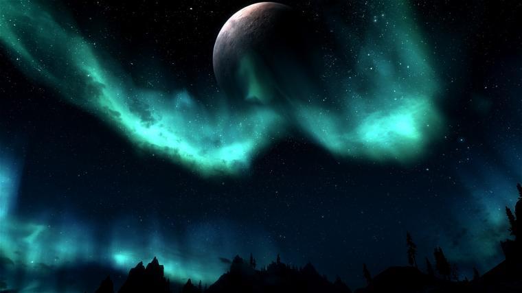 Skyrim NightSky Lights   Desktop Wallpaper