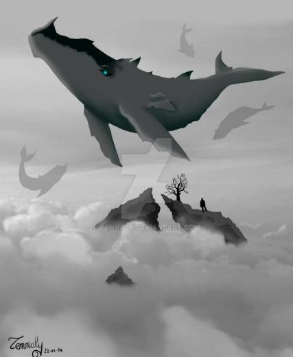Flying Whales Gojira FanArt by Tennaly