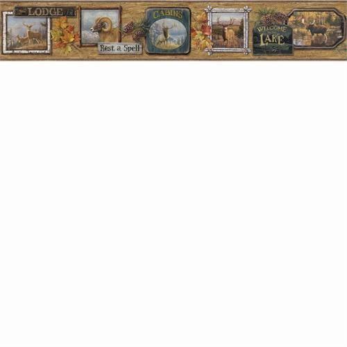 hautman brothers big five hunting cabin wallpaper border htm48562b