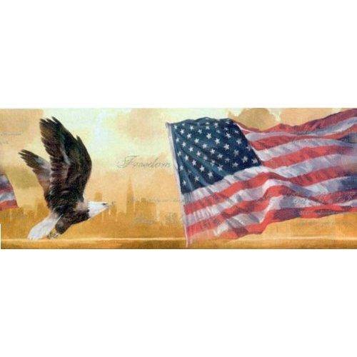 American Flag and Eagle Wallpaper Border