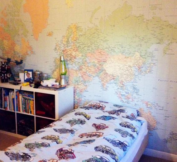 in your kids room by adding this cool world map wallpaper design
