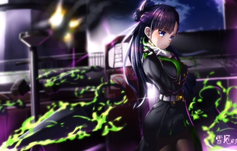 Wallpaper girl weapons magic smoke anime art Owari no Seraph