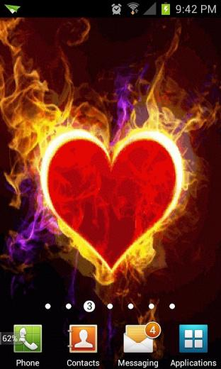 Red Heart Fire Live Wallpaper Android Live Wallpaper download