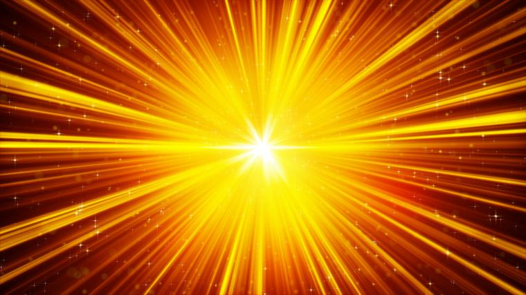 yellow shining light rays and stars loopable background 4k