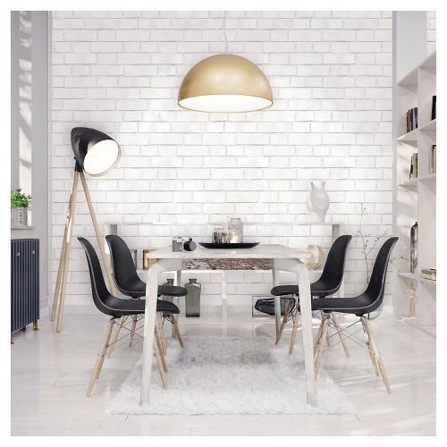 Devine Color Peel and Stick Wallpaper Textured Brick Pattern White