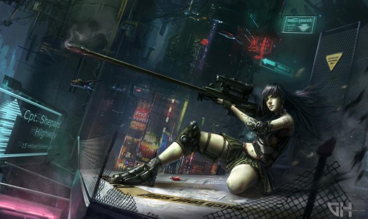 Sniper Riffle Girl Female Anime HD Wallpaper Desktop PC Background