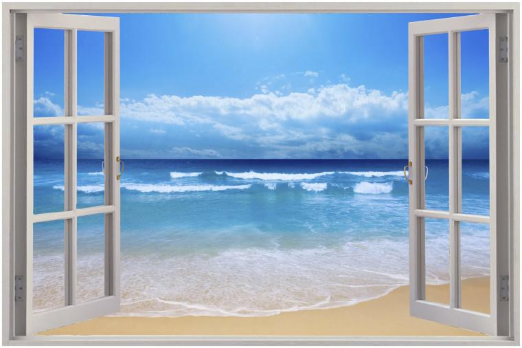 Exotic Beach View Wall Stickers Film Mural Art Decal Wallpaper eBay