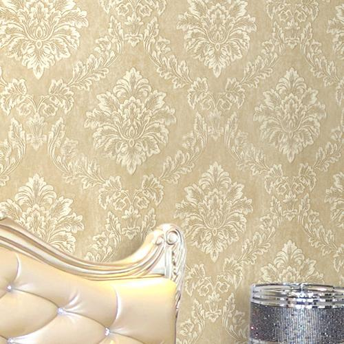 com Buy Natural Wall Paper Glitter DAMASK Floral Wallpaper Roll