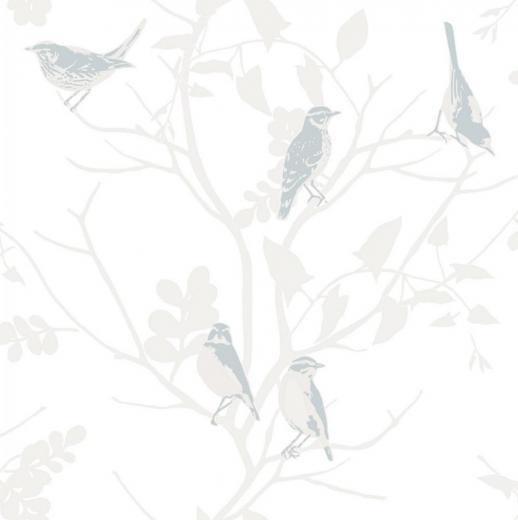 RASCH SONGBIRD BIRDS TREES BRANCHES MOTIF METALLIC WALLPAPER ROLL