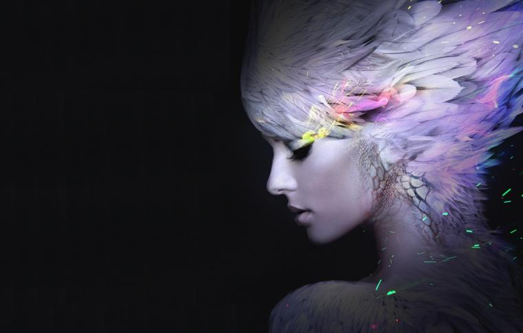 Wallpaper girl feathers art profile black background