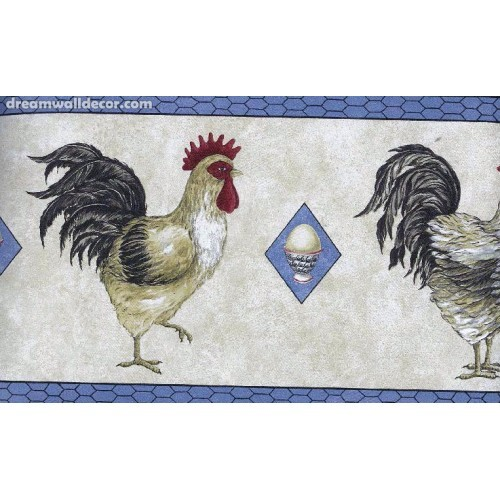 Black Blue Cream Chickens Wallpaper Border