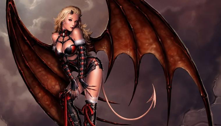 art girl demon demoness demon wings tail horns eyes posturejpg
