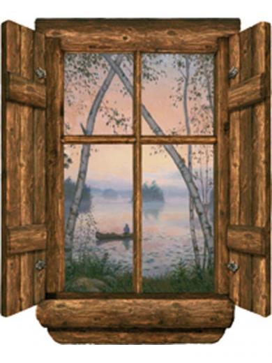 Log Cabin Window Fishermans Dream Wall Mural