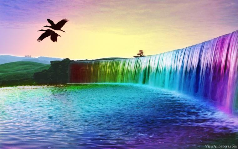 Colorful Waterfall Desktop Background High Resolution download