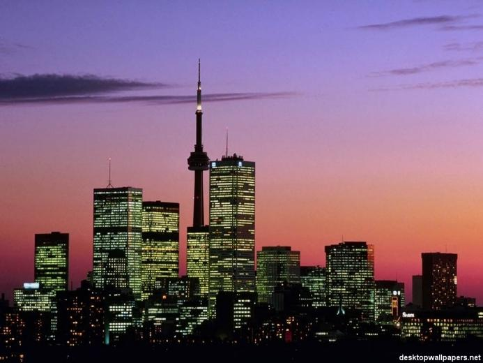 Toronto skyline at dusk   Toronto Canada at desktopWallpapersnet