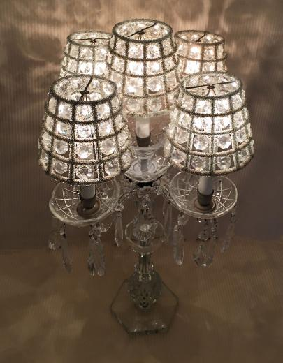 Cut crystal lamp with crystal shades from Jan Wolf Studio