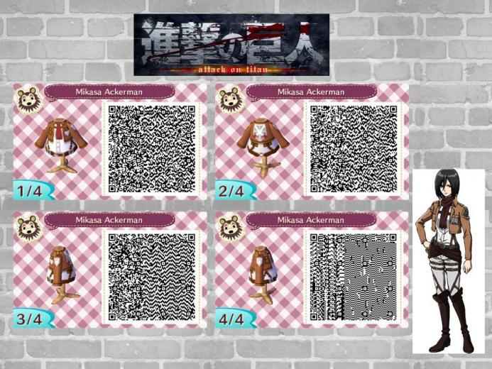 Animal Crossing QR code Mikasa Attack on Titan by JENNYtheCOOKIE