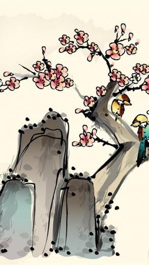 traditional Chinese painting iPhone 5 wallpapers HD