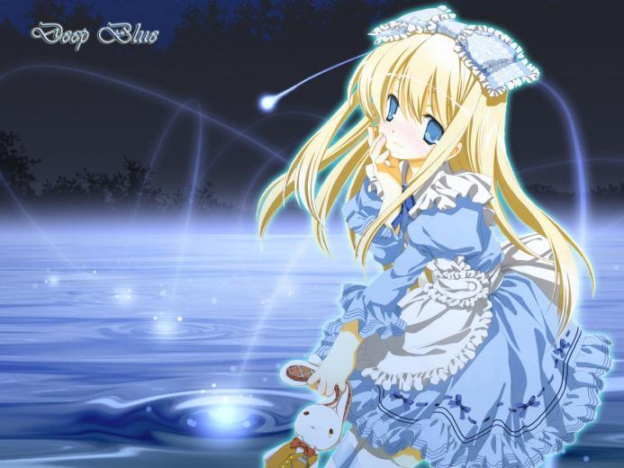 wallpaper blue girl animejpg