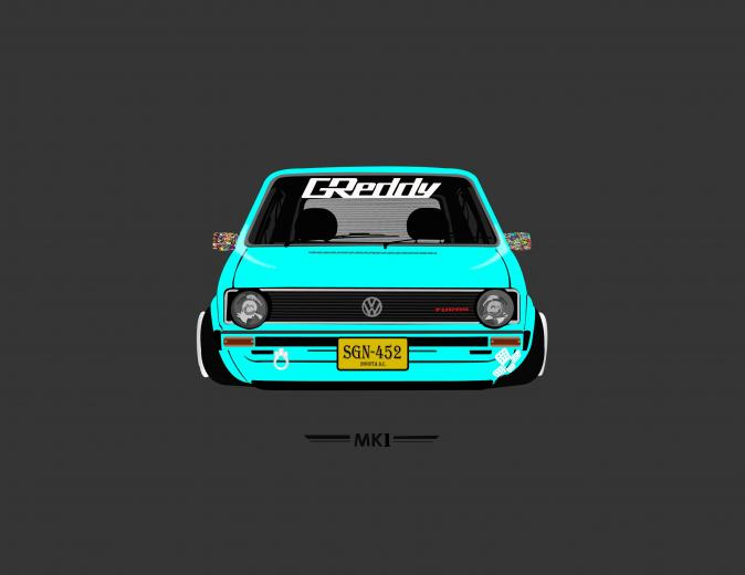 Teal and black car die cast model MK1 Volkswagen tuning