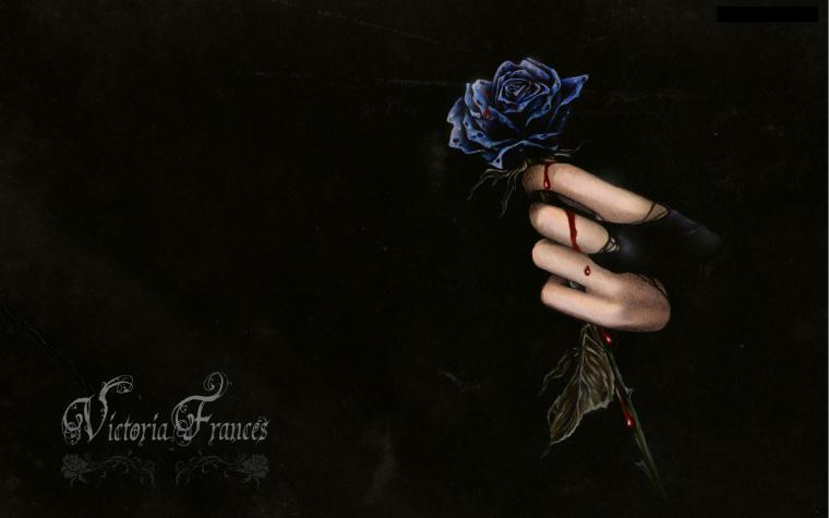 Dark horror fantasy gothic vampire blood flowers wallpaper 1920x1200