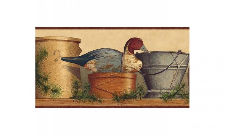 Home Burgundy Tan and Blue Lodge Coffee Pot Wallpaper Border