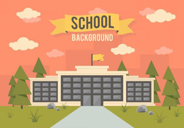 School Landscape Vector Background   Download