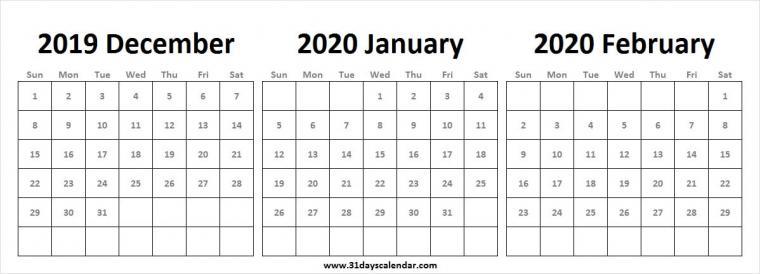 2019 December 2020 January February Calendar Wallpaper 2020 Year