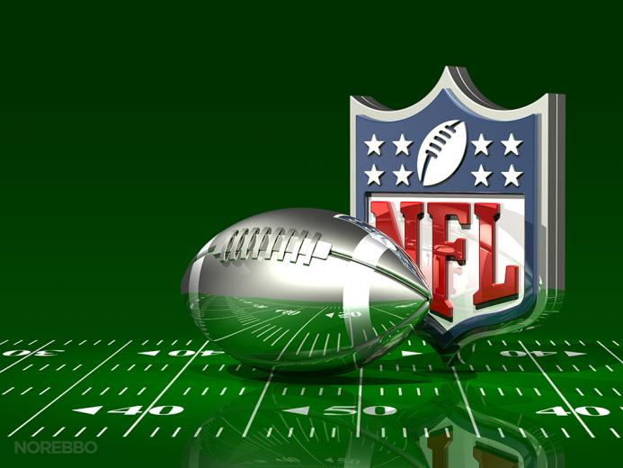 of an NFL logo behind a transparent silver American football