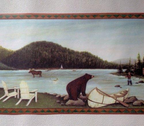Lodge Wallpaper Border   Fishing Moose Bear Camping